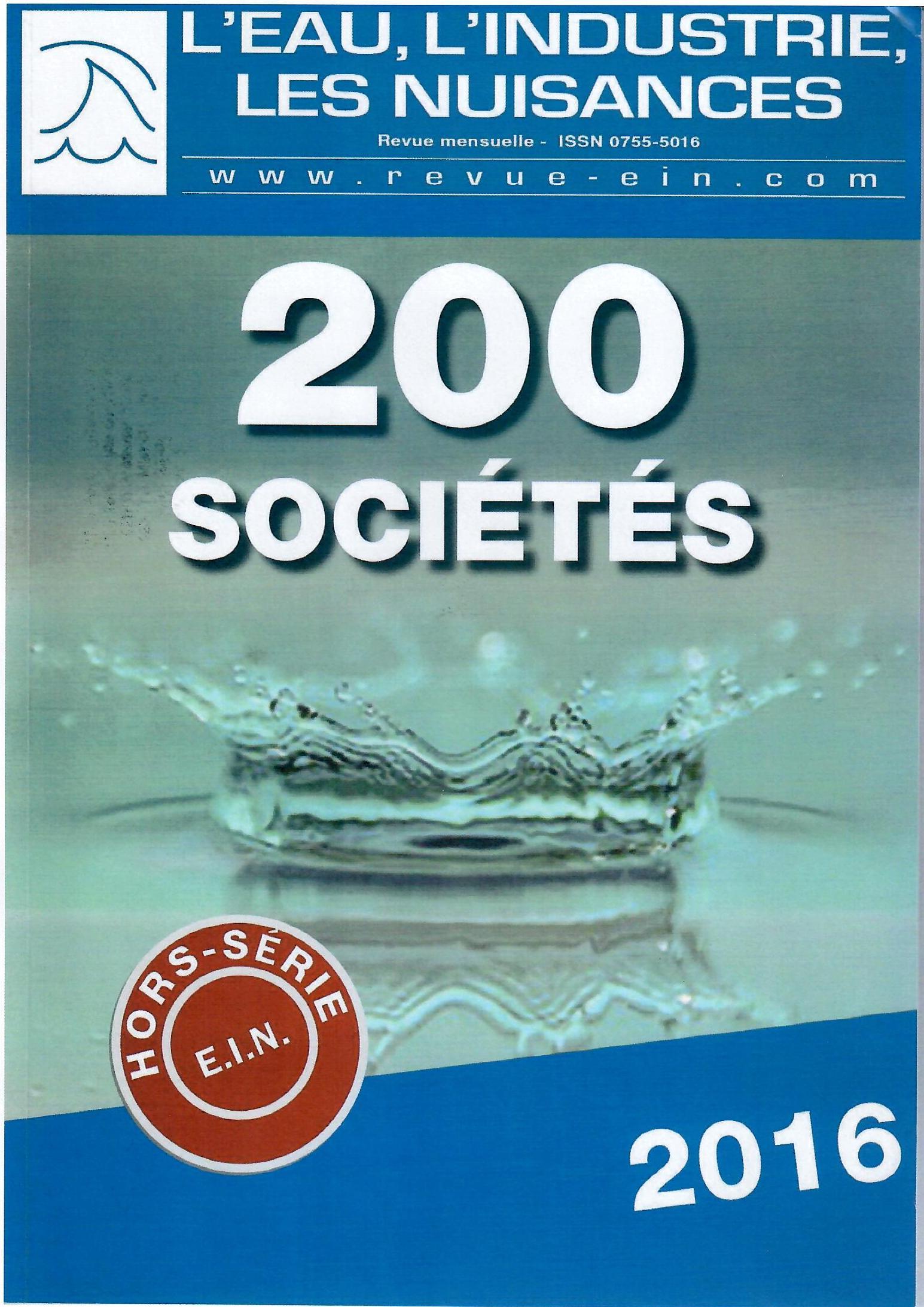Revue eau et industrie, 200 sociétés 2016